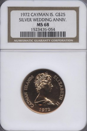1972 Cayman $25 Silver Wedding MS 68 | William Youngerman