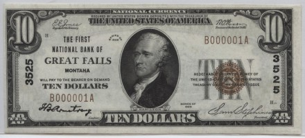 Great Falls, Montana 1929 type 1 $10 | William Youngerman