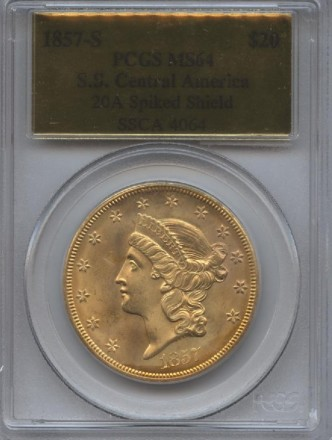 1857-S Gold Liberty $20 MS 64 PCGS | William Youngerman