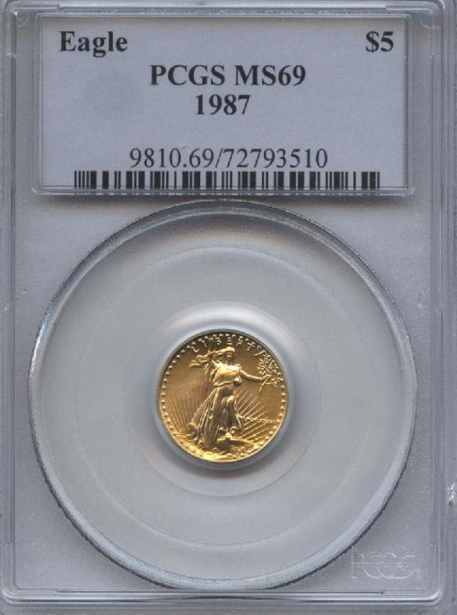 1987 1 10 Oz Gold American Eagle 5 Pcgs Ms70