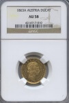 1863-A Austria Ducat NGC AU 58 | William Youngerman
