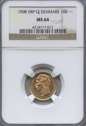 1908 VBP GJ Denmark 10K NGC MS 64 | William Youngerman