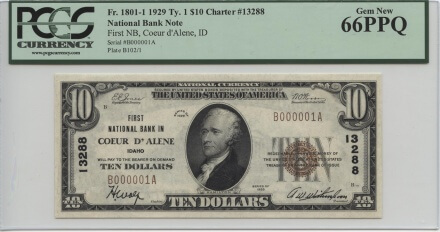 Coeur D'Alene, Idaho 1929 type 1 $10 | William Youngerman