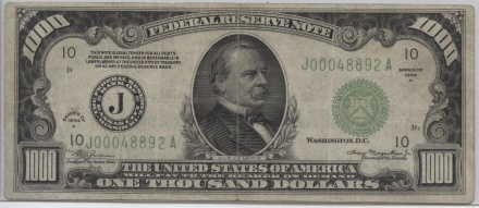 1934-A Kansas City, Missouri $1000 Fine Condition