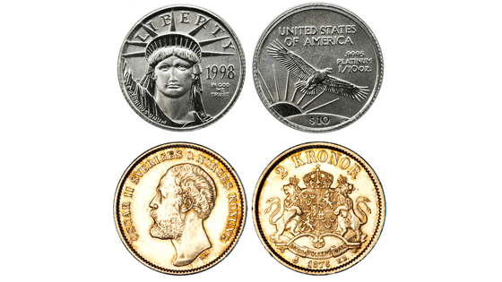 An example of silver bullion and a numismatic coin.